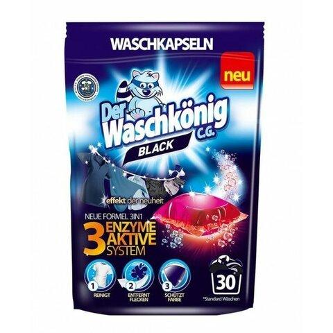 Der Waschkönig kapsle na praní BLACK 30 pcs S AKTIVNÍM SYSTÉMEM 3 ENZYMŮ