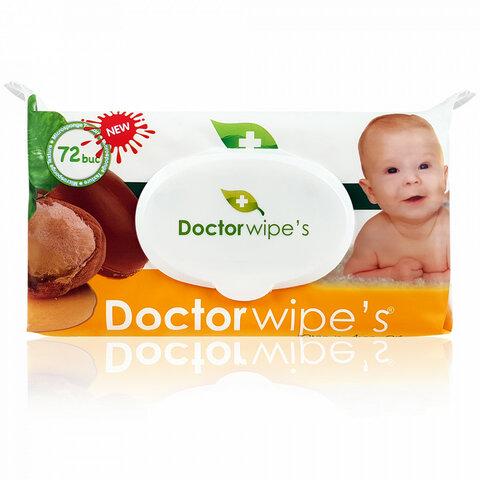 Doctor Wipe´s dětské vlhčené ubrousky s arganovým olejem a uzavíratelným klipem 72 ks
