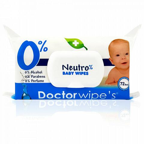 Doctor Wipe's Neutro Baby Wipes vlhčené ubrousky s uzavíratelným klipem 72 ks