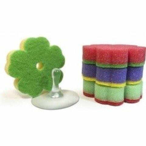 SILUX HOUSEHOLD houbičky na nádobí ve tvaru kytičky 4 ks + přísavka zdarma