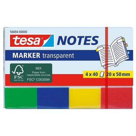 TESA 56694 Záložky / Poznámkové bločky Transparent, 4x 40ks, 20mm x 50mm