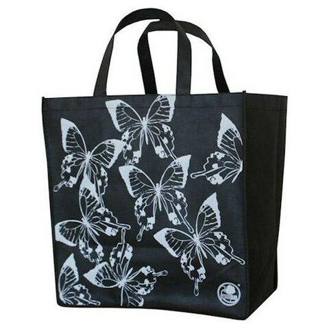 Tkaná taška 34x36+22cm černá motýl