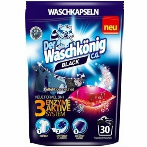Waschkönig kapsle na praní BLACK 30 pcs S AKTIVNÍM SYSTÉMEM 3 ENZYMŮ